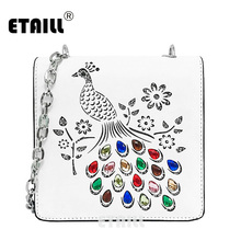 ETAILL 2017 Peacock and Flowers Hollow Out Messenger Bag with Crystal PU Leather Rhinestone Crossbody Bag White Small Flap Bags