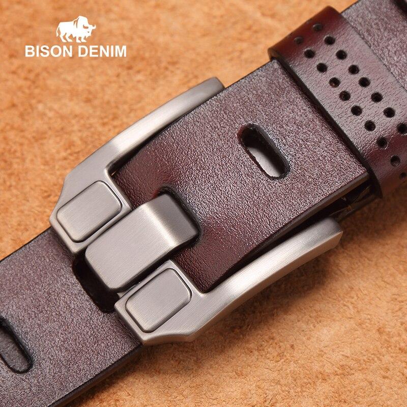 BISON DENIM Men   Belts   Vintage Top Genuine Leather   Belt   For Mens Cowhide   Belts   With Buckle Black Brown Coffee W71018