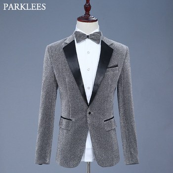 Shiny Gray Glitter Blazer Jacket Men Casual Slim Fit Lapel Mens Blazers With Bow Tie Nightclub DJ Stage Singer Grooms Suit Homme фото