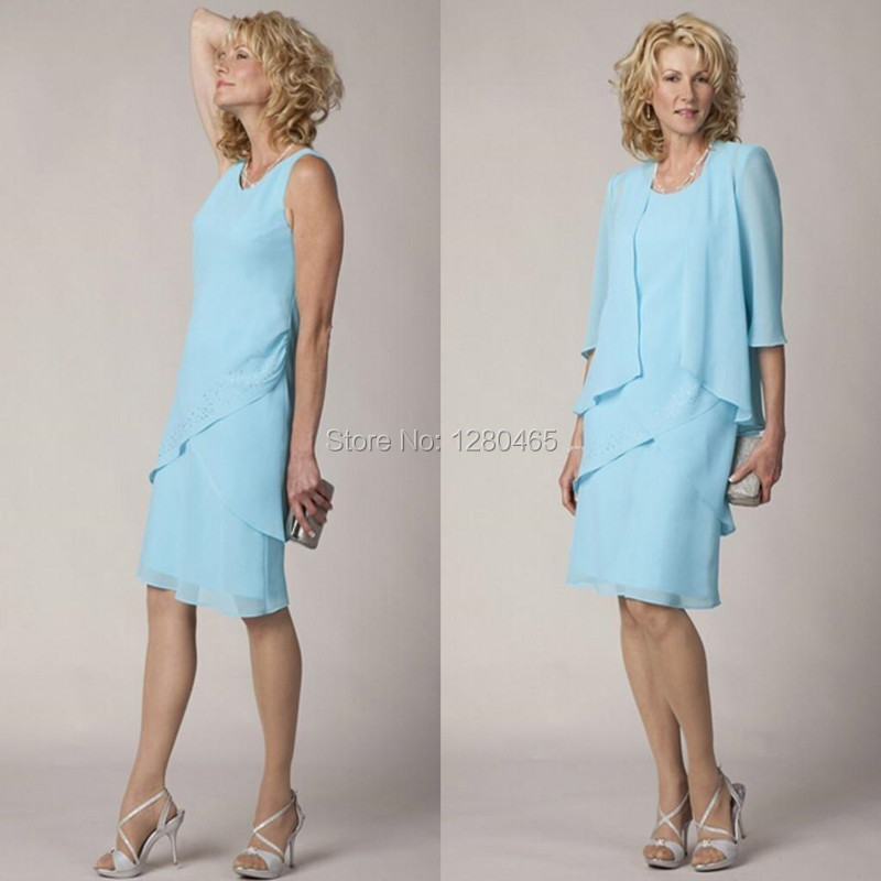 Short Blue Mother of the Bride Dresses Knee Length Plus Size with Mid  Sleeve Jacket for Summer Vestido Para Mae da Noiva e332bd24ce