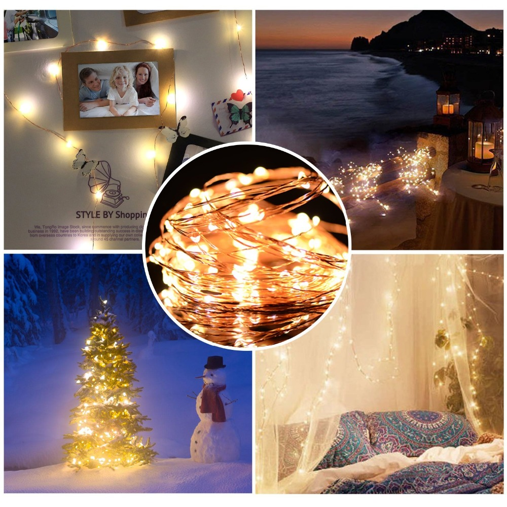 Led Strings light 2M 5M 10M 100led Copper Wire 3XAA Battery Operated Christmas Wedding Party Decoration LED String Fairy Lights