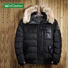 Wildgeeker Men's Winter Jacket 2017 New Fashion Solid Hooded Fur Windbreaker Jacket Men Parkas Padded Coat Brand Men's Clothing