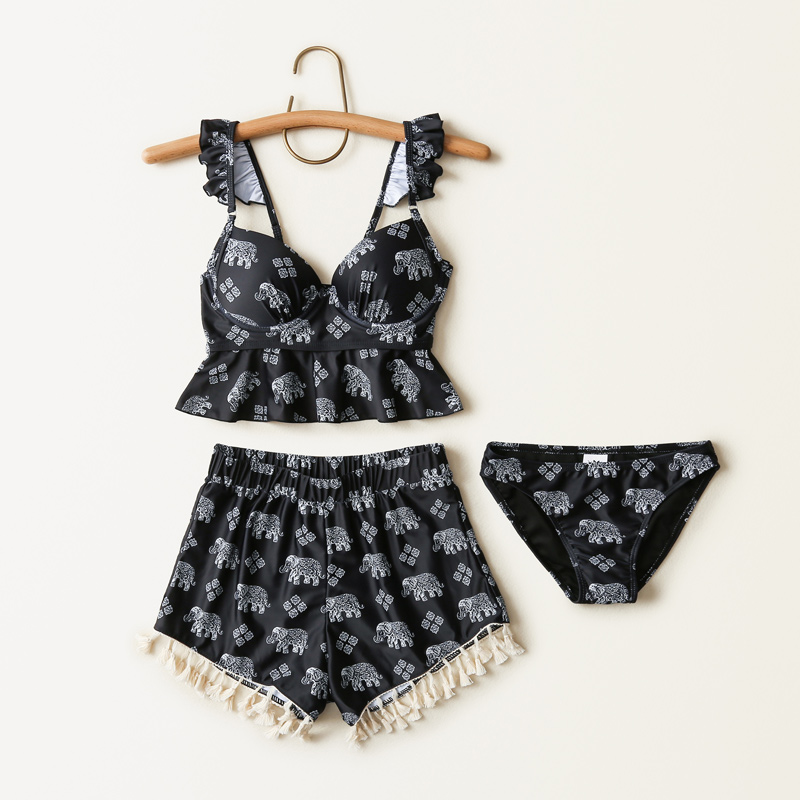 swimsuit female three-piece Korean hot spring together small air fragrance black belly show thin students bathing suit 2018 limited korean national small fragrant spa chest sexy blouse gather cover belly thin bikinis four piece female swimsuit