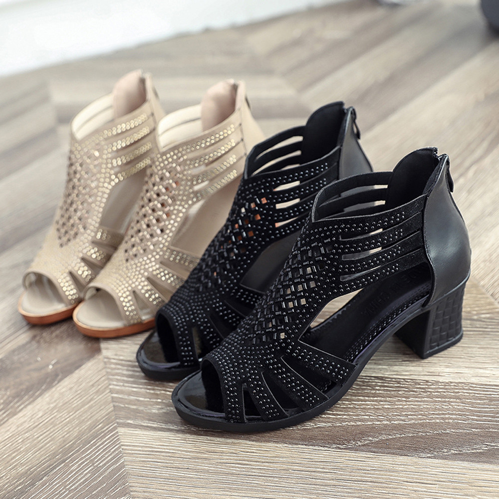 c99fdf31431d Women Fashion Crystal Hollow Out Peep Toe Wedges Sandals High Heeled Shoes