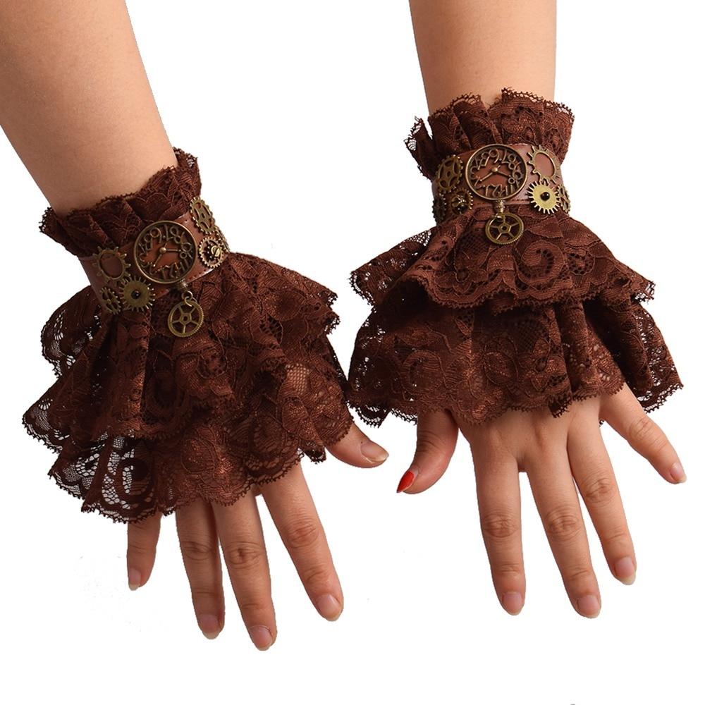 Lace Wrist Cuffs Retro Cosplay Brown Women Steampunk Gear Vintage Wristbands Bracer
