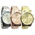 2017 Quente nova Moda Relógio de Genebra ouro rosa Unisex falso três Quartzo Roma Relógio do aço Mulheres Homens relógios de Pulso Analógicos W430