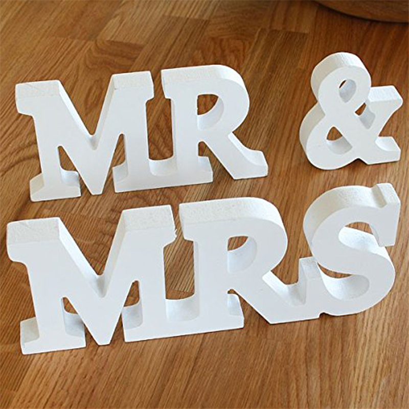 large mr mrs capital wooden letters for decorations party wedding supplies decoration festival ornaments romantic