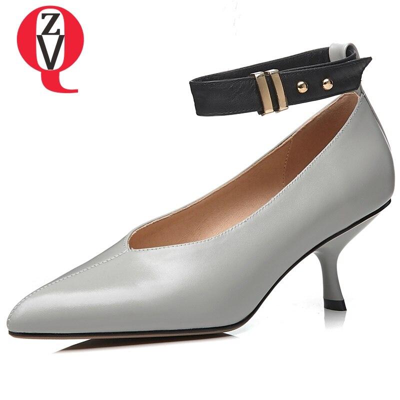 03749da632c5a2 Véritable beige Mode Zvq Cheville À Nouveau Pompes Printemps En Black Hauts  Femmes Talons Chaussures gray Couleur Venu 3 Boucle ...