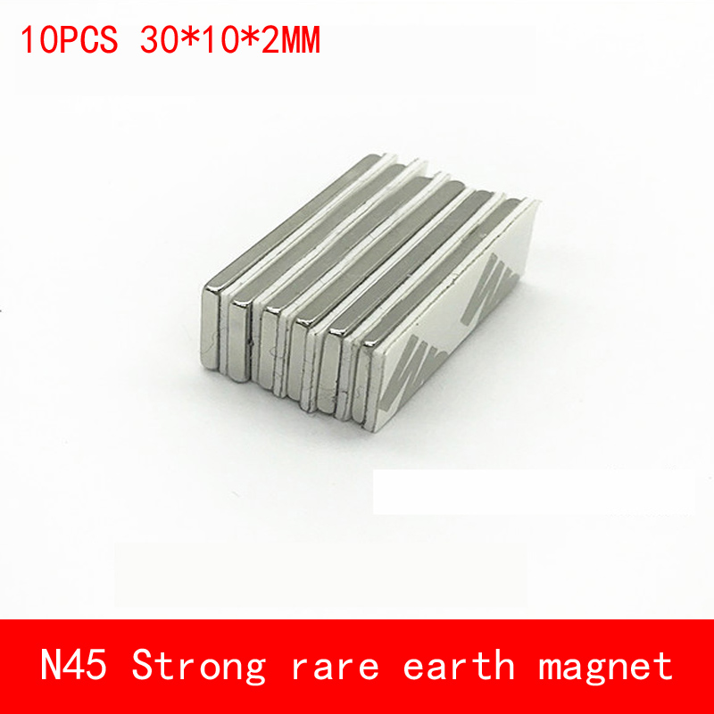 10PCS 30*10*2mm Double-sided adhesive tape N45 Strong magnetic force rare earth magnet permanent 30X10X2MM 1 pcs deli 2 4cm 10y super slim strong adhesion white double sided tape doubles faced adhesive for office supplies