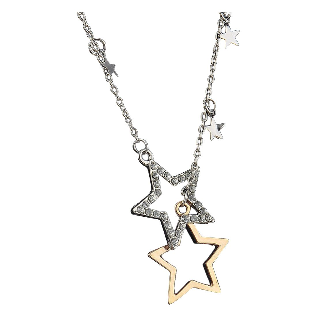 font b Fashion b font Women Silver Gold Crystal Stars Pendant Long Chain Necklace font