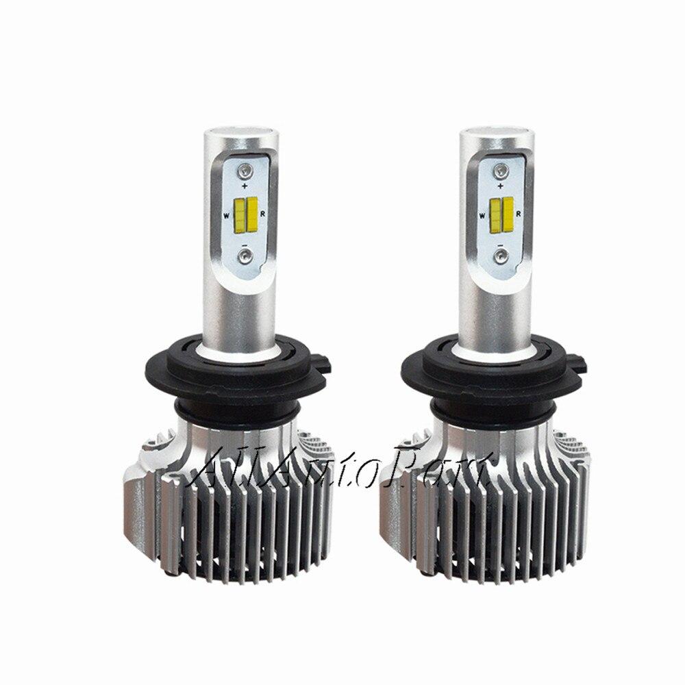 2017 автомобилей Светодиодный свет фар лампа H7 H4 H1 H11 спереди светильник светодиодны ...