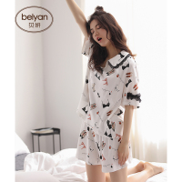 Summer Pure Cotton Pajamas Women Leisurewear Female Short Sleeve Sleepwear Suit