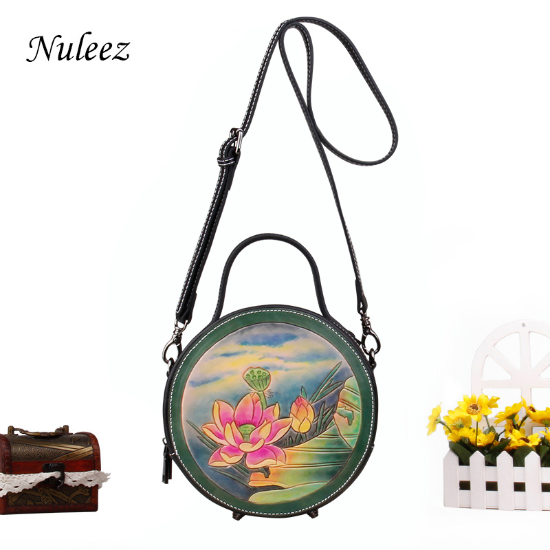 Nuleez genuine leather women bag Chinese national hand carved waterlily luxry cowhide Messenger bag 2018Nuleez genuine leather women bag Chinese national hand carved waterlily luxry cowhide Messenger bag 2018