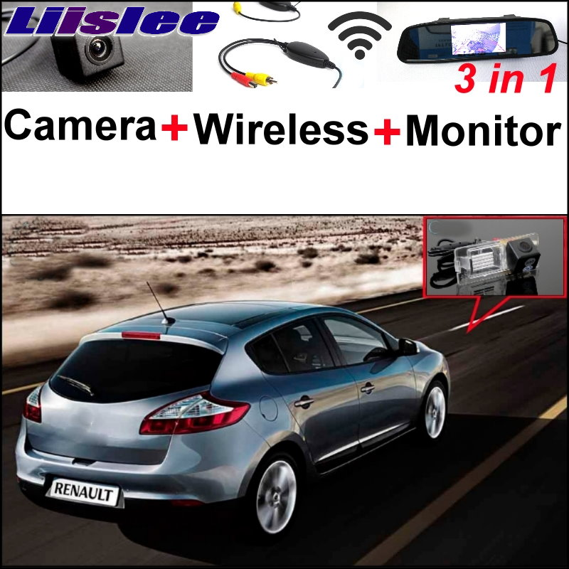 Liislee 3 in1 Special Rear View Camera + Wireless Receiver + Mirror Monitor DIY Parking System For Renault Megane II III 2 3 liislee for renault samsung qm5 3 in1 special rear view camera wireless receiver mirror monitor easy back parking system