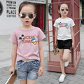 2017 девочка летом с коротким рукавом Футболки ребенок мультфильм печати 100% хлопок топ девушки футболки детская одежда