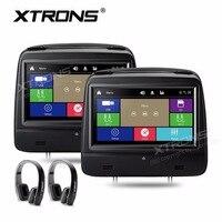 XTRONS 8 HD 1280*720 цифровой сенсорный экран кожаный чехол подголовник автомобиля DVD плеер мониторы 1080 P FM IR + 2 шт. беспроводные ИК наушники