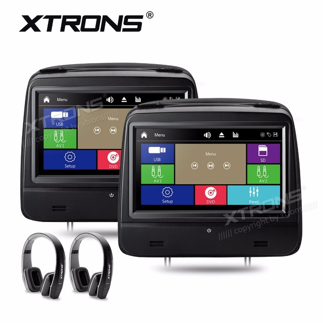 XTRONS 8 HD 1280*720 Digital Touch Screen Leather Cover Car Headrest DVD Player Monitors 1080P FM IR+2pc IR Wireless Headphones