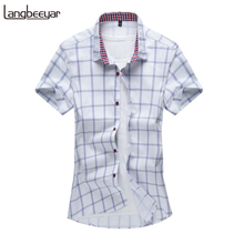2017 verão novo moda marca clothing manga curta camisa dos homens Camisa Slim Fit 100% Algodão xadrez Casual Camisa Social Dos Homens M-5XL(China (Mainland))