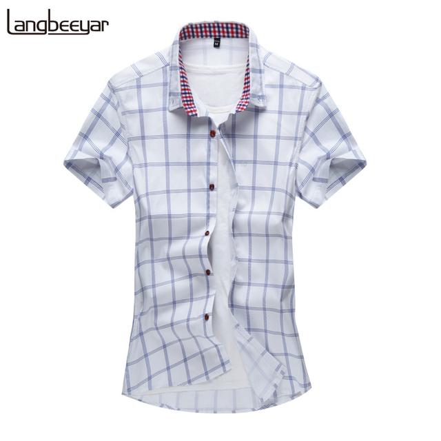 2017 verão novo moda marca clothing manga curta camisa dos homens Camisa Slim Fit 100% Algodão xadrez Casual Camisa Social Dos Homens M-5XL