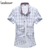 2017 Summer New Fashion Brand Clothing Short Sleeve Shirt Men Plaid Shirt Slim Fit 100 Cotton
