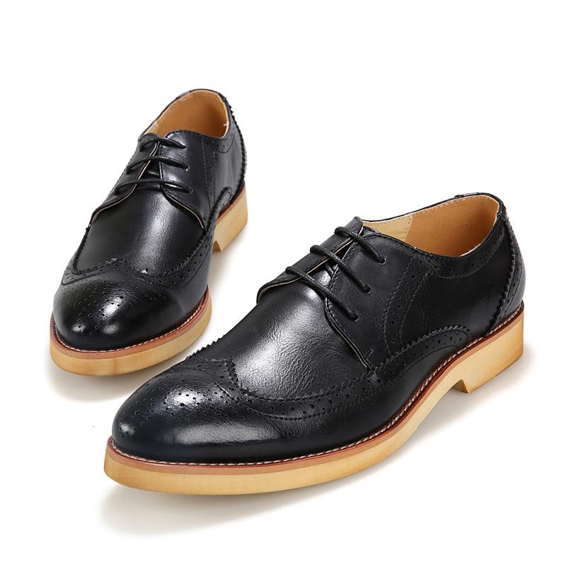 Nouveau 2015 hommes Oxford chaussures richelieu en cuir mode bout  pointu appartements chaussures Casual Oxford chaussures