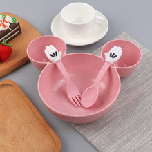 Hot Sales Wheat Straw Bowl Children Cartoon Tableware Set Baby Dinner Plate Training Spoon Fork for Kids with Boxes