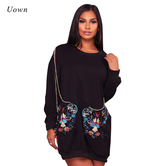 e496a6cd91c Autumn Winter Long Sleeve Casual Dresses for Women 2018 Fall Fashion Chain  Pockets Everyday Dresses Black