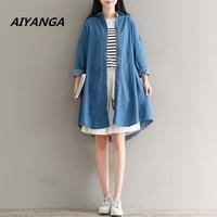 Spring Autumn New Women S Clothing Denim Cotton Blouses Long Sleeve Blue Medium Long Shirts Casual