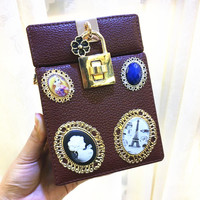 Fashion designer female retro clutch vertical square hardware lock box package chain diagonal shoulder bag women evening bag