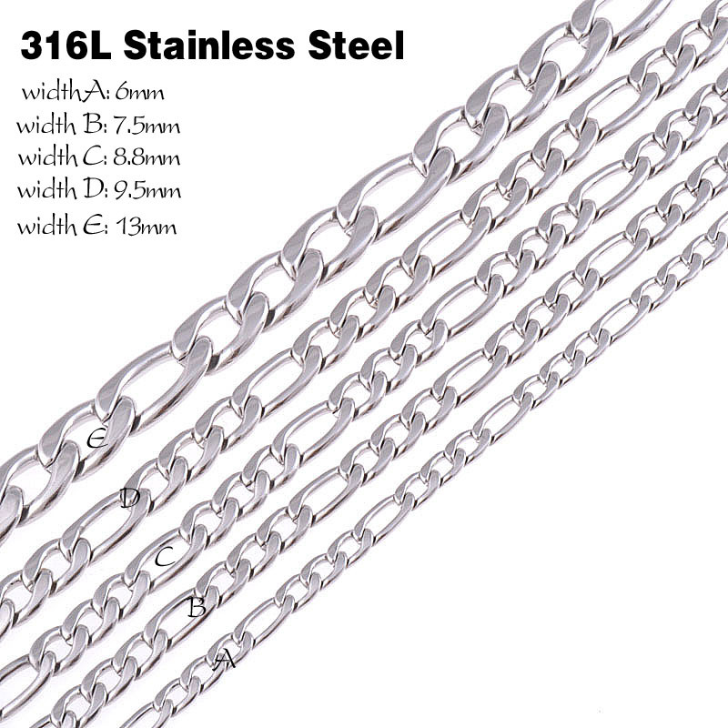 Customize Size L Stainless Steel Necklace Chain Silver Color Chain Necklace Mens Jewelry Christmas Gift Figaro