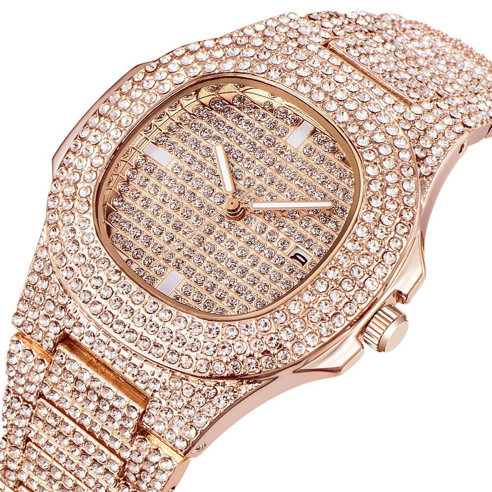 2019 Lovers' Top Quality Women Men Watch Couple' Crystal Rhinestone Watches Women Watch Calendar Diamond Auto Date Wristwatches