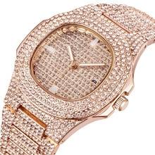 2019 Lovers Top Quality Women Men Watch Couple Crystal Rhinestone Watches Calendar Diamond Auto Date Wristwatches