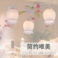 European-style garden living room Romantic Restaurants white wrought iron pink ceramic flowers glass lampshade Ceiling Lamp c165