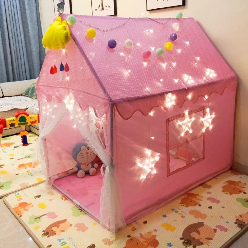 0-14 Interior das crianças Brincar de Casinha de Brinquedo Tenda Super Espaço Tenda Anti-mosquito Interesse Cultivada com Almofadas iluminado