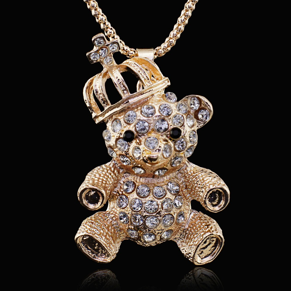 Crown Bear Crystal Long Pendant Sweater Chain Necklace Women
