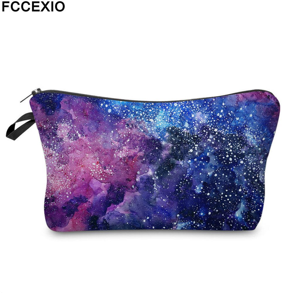 FCCEXIO New 3D Print Makeup Bags With Purple Galaxy Pattern Cute Cosmetics Pouchs For Travel Ladies Pouch Women Cosmetic Bag 3d florals pattern u pouch design voile briefs