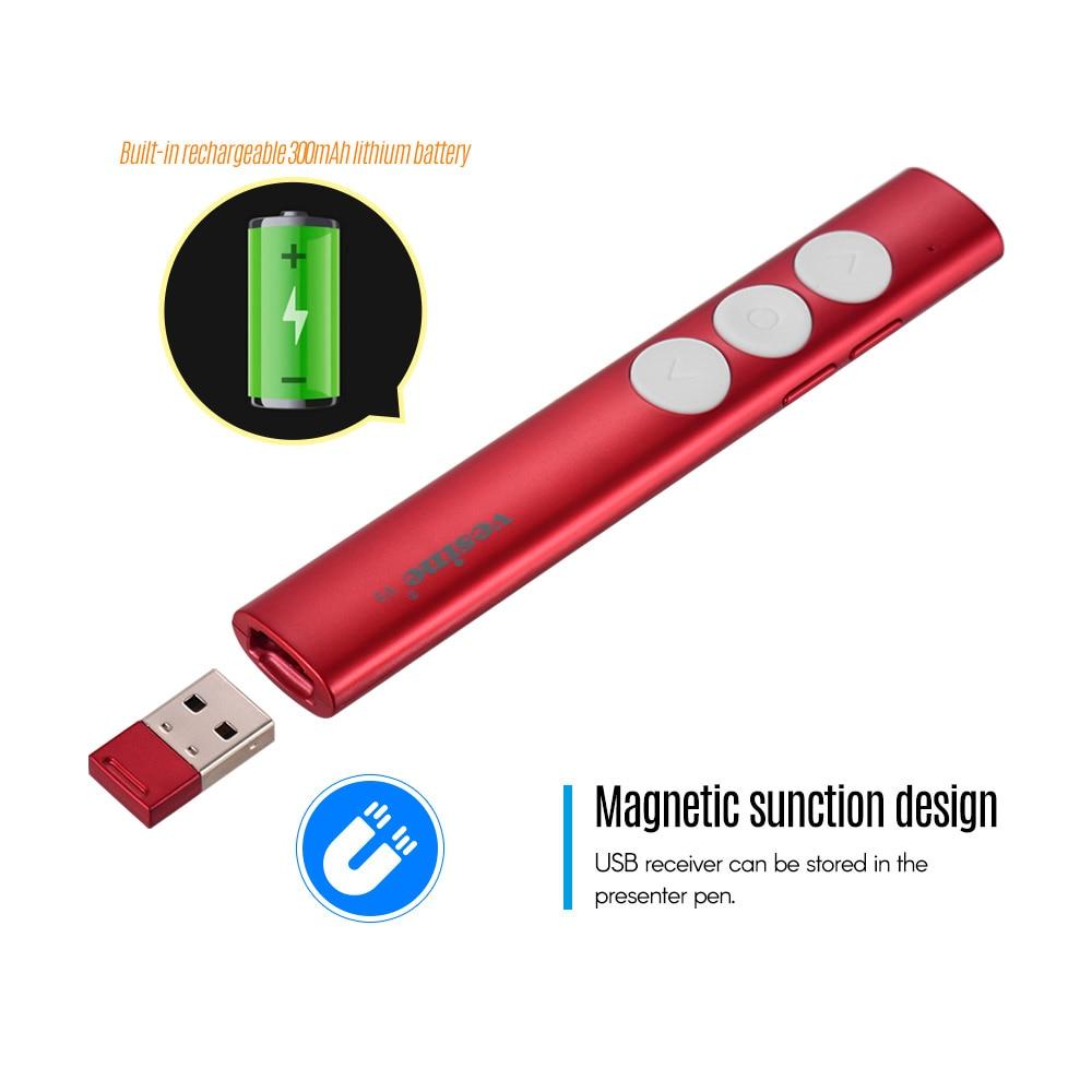 Professional RF 2.4GHz Wireless USB Receiver PPT Presenter Red Laser Pointer Pen