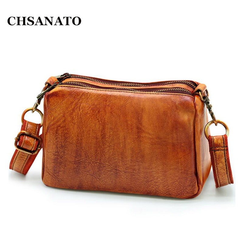 CHSANATO Double Zippers Vintage Genuine Leather Bag Female Small Women Bags For Girls Shoulder Crossbody BagCHSANATO Double Zippers Vintage Genuine Leather Bag Female Small Women Bags For Girls Shoulder Crossbody Bag
