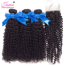 JARIN Hair Brazilian Afro Kinky Curly hair 3 Bundles With 4x4 Lace Closure Human Hair Weave 4pcs/lot Remy hair Extension Weft(China)