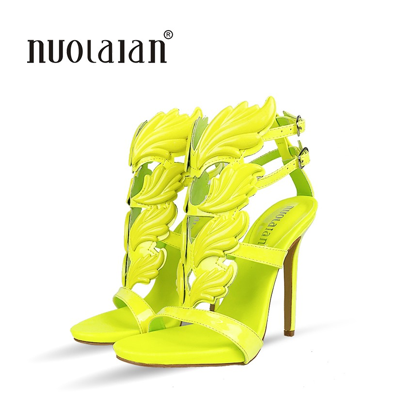 fd44574ea85e Hot sell women high heel sandals gold leaf flame gladiator sandal shoes  party dress shoe woman patent leather high heelsUSD 30.36 pair ...