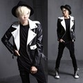 men's fashion personality jacket Korean Slim nightclub costumes black and white stitching leather coat