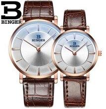 De lujo binger reloj marca amantes pareja impermeable estilo de cuero relojes de moda 2017 reloj de cuarzo de oro