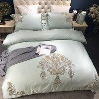 Thanh lịch thêu Luxury wedding Bedding set Ai Cập Cotton Vua Queen Size 4/7 cái ánh sáng Giường màu xanh lá cây set Duvet cover bedsheet