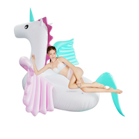 250cm 98inch Giant Rainbow Unicorn Pool Float Pink Inflatable Pegasus Ride On Water Fun Toys Colorful Air Mattress Boia Piscina