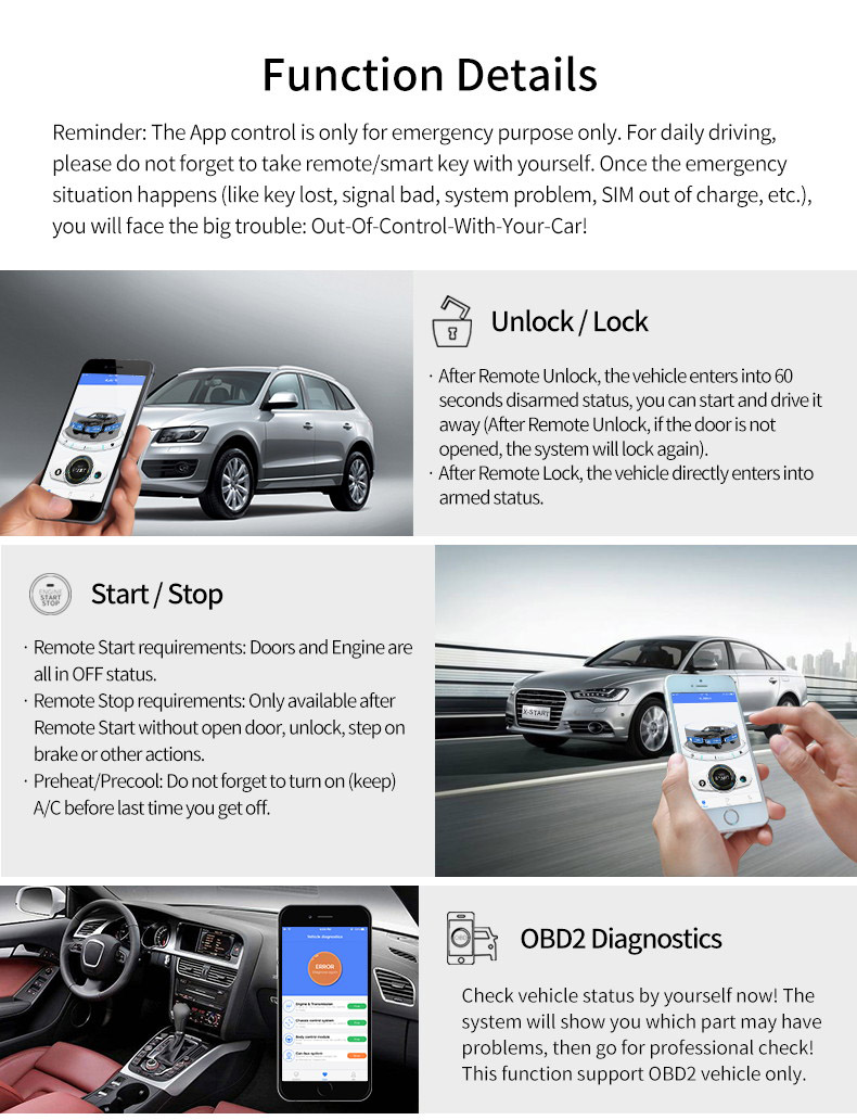 US $120 0 |x start remote smart start smart key keyless entry go push  button start gps tracker tracking system for audi a4 a5 q5 a7 a6 a8-in Tire