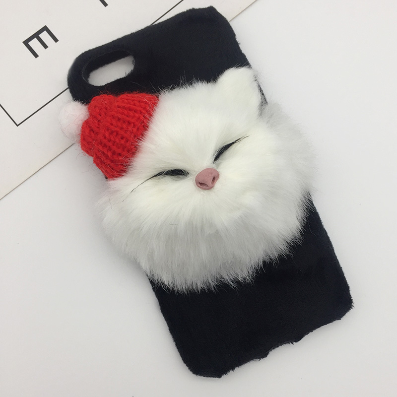 Christmas Hat Cute Cat Fluffy Fur Phone Case For iPhone X XS Max XR DIY Lovely Plush Hair Cover For iPhone 8 7 6s 6 Plus Coque (8)