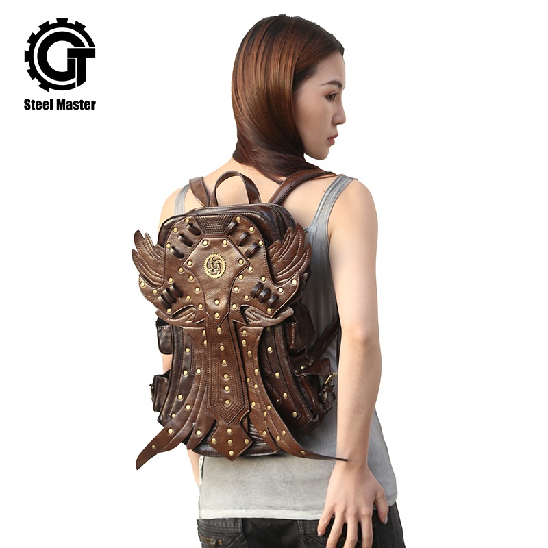 Backpacks Steampunk Men Backpack Vintage Fashion Gothic Retro Rock Bags Pu Leather Punk Bag Womens Brown Detachable Wing Backpacks