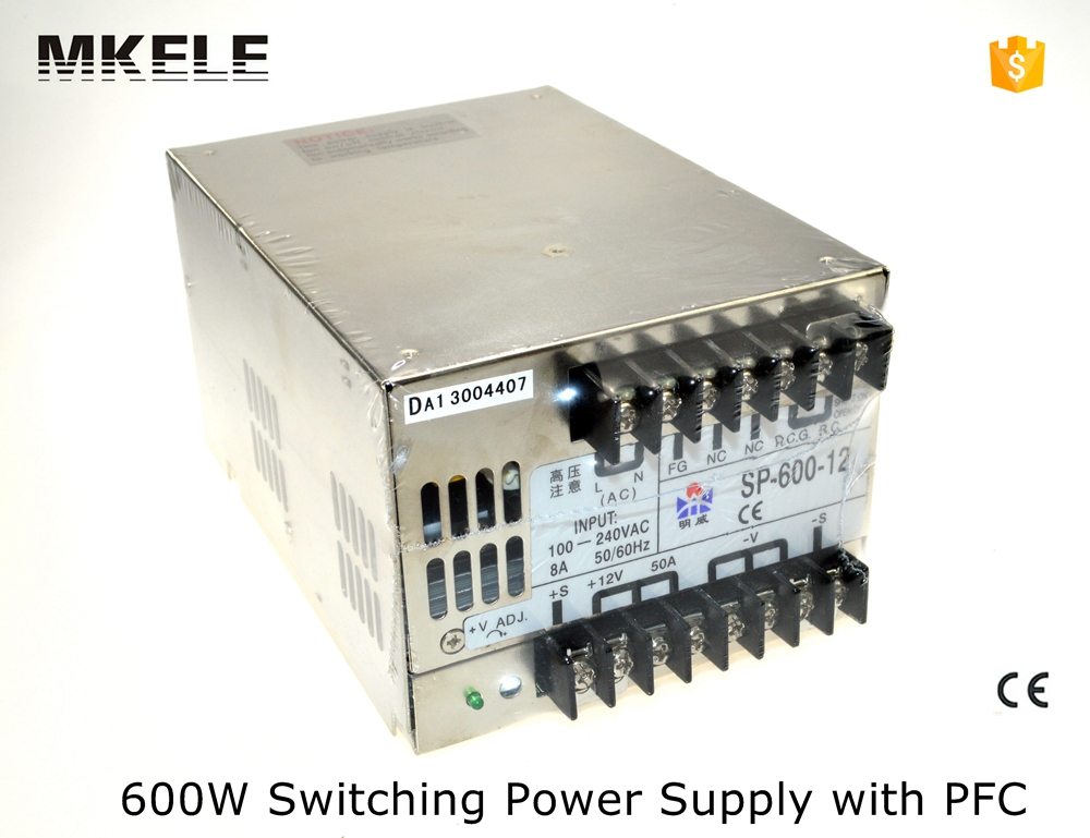SP series multi terminals 12v 600w SP-600-12 50A single output PFC large power switching power supply from china factory