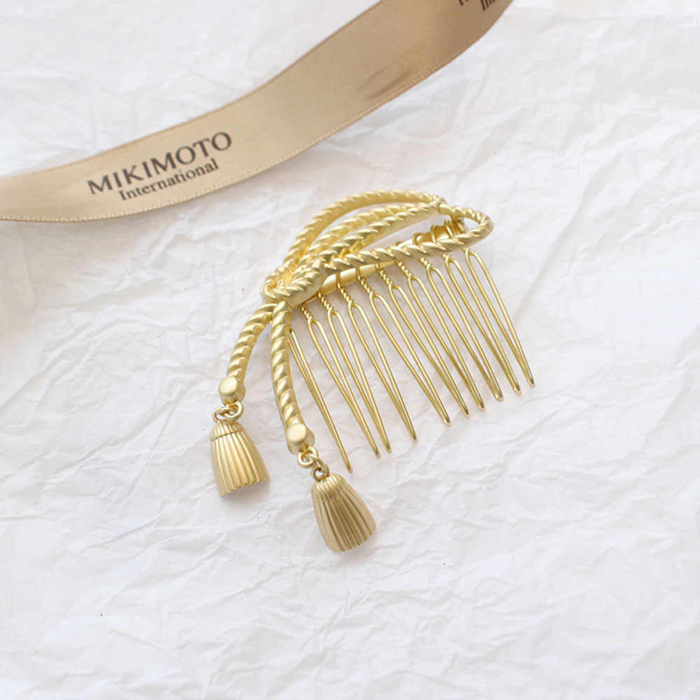 Japão feminino oco bowknot pentes de cabelo metal ouro prata cor borla hairpin acessórios para o cabelo geométrico irregular