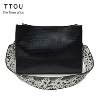 TTOU Frauen Luxus Design Hanbag Serpentin Patchwork Umhängetasche 2 teile/satz Schlangenhaut Muster Einkaufstasche Große Kapazität Bag